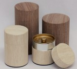 Natural Wood Tin Canister